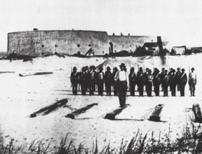 Confederate troops outside Fort McRee